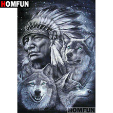 "HOMFUN Volledige Vierkante/Ronde Boor 5D DIY Diamant Schilderij ""Indian wolf"" Borduren Kruissteek 5D Home Decor gift A07043(China)"