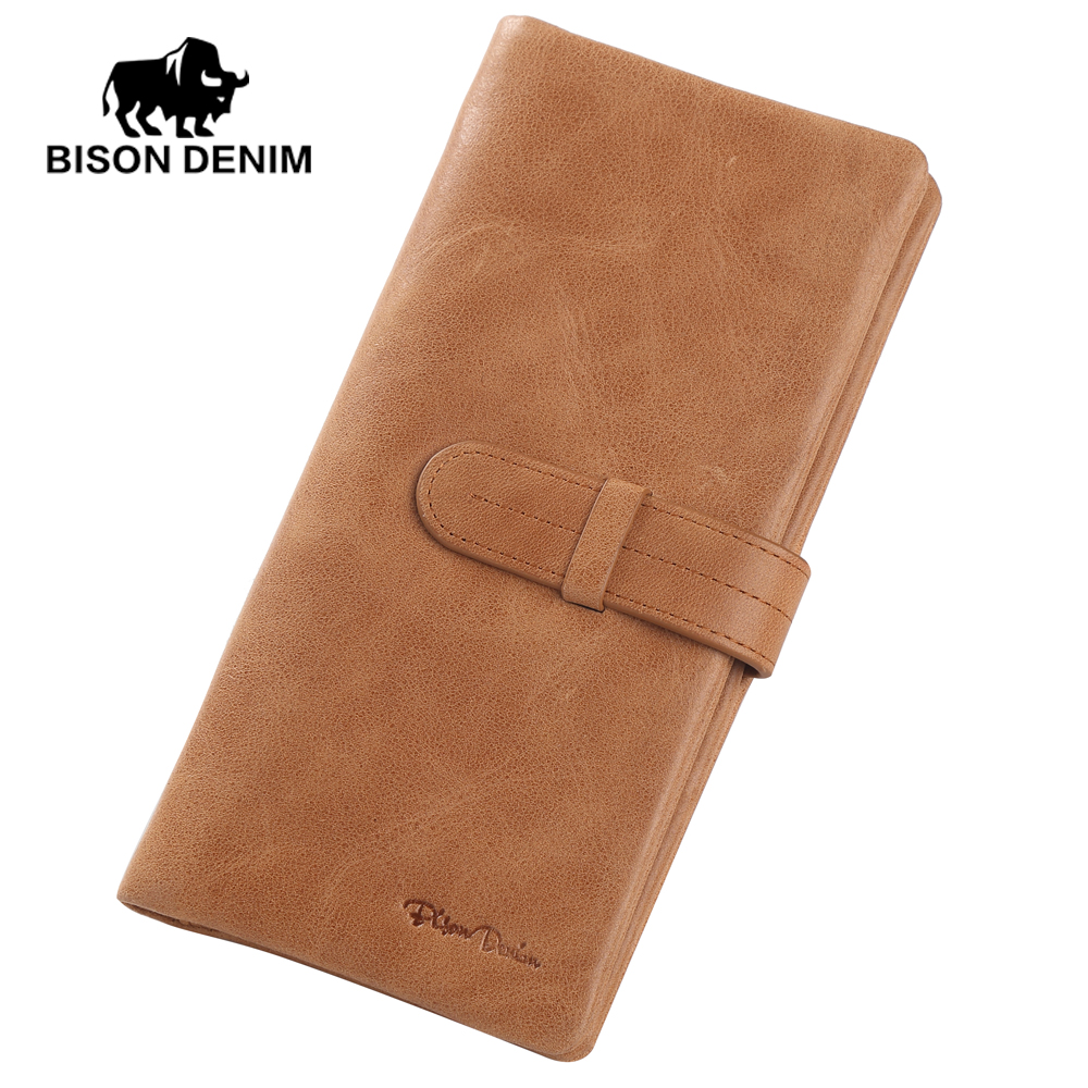 BISON DENIM 100% Top Layer Cow Genuine Leather Luxury Brand Men Wallets Long Short Purse Male Clutch Business Coin W4401 padieoe luxury brand men wallets genuine leather male business oil cow leather trifold purse