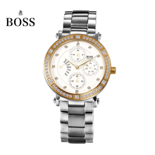 BOSS Germany watch women luxury brand diamond stainless steel multifunction watch waterproof fashion calendar relogio feminino