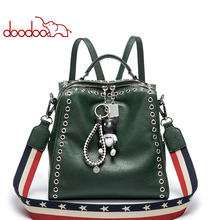 2017 New Design Fashion Rivet Ladies Box Totes Female Luxury Leather Crossbody Bags with Bear Ornament Women Stripe Shoulder Bag