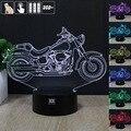 Motocicleta Luz Da Noite 3D RGB Mutável Mood Lamp LED Luz DC 5 v usb candeeiro de mesa decorativo obter um free controle remoto hui YUAN