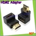 Comercio al por mayor 10 unids/lote HDMI macho a HDMI hembra cable adaptador convertidor extender ángulo de 90 grados para 1080 P HDTV Gota envío Gratis