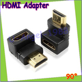 Wholesale 10pcs/lot HDMI male to HDMI female cable adapter converter extender 90 degree angle for 1080P HDTV Drop Free Shipping