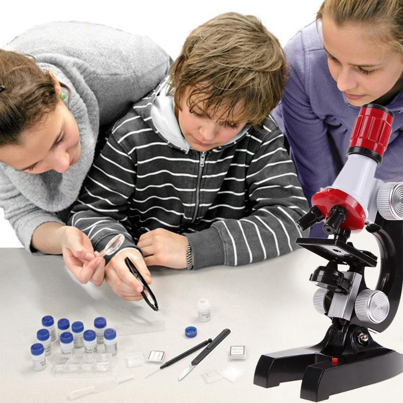 Kids Sci-Fi Educational Microscope Kit Science Lab 100-1200X Toy Home School Interest Cultivation Boys Birthday Gift Present