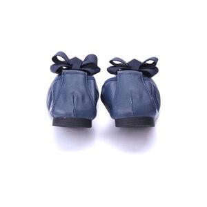 Image 4 - מותג מעצב Bowknot קונוס נעלי אישה שטוחה נעלי אלגנטי נוח ליידי אופנה כיכר ראש נשים סופר רך בלט דירות