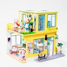 Robotime поделки Кукольный дом деревянный кукольный дом Миниатюрный кукольная мебель комплект с светодиодный игрушки для детей Прямая TD04