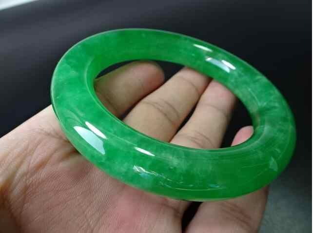 เก่าวัตถุโบราณวัตถุ, Qing Dynasty, Zhengyang สร้อยข้อมือหยกสีเขียว, บาร์, น้ำแข็งและ waxy หยกสร้อยข้อมือ