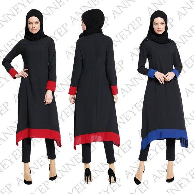 f5fe3f9c426a7 2017 الجديدة النساء ضئيلة فستان أسود أحمر أزرق فساتين الصيف الطويلة الأكمام الإسلامية  مسلم الجلباب العباءة