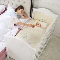 Baby bed solid wood European paint baby bed multi function BB bed newborn cuna colecho with roller