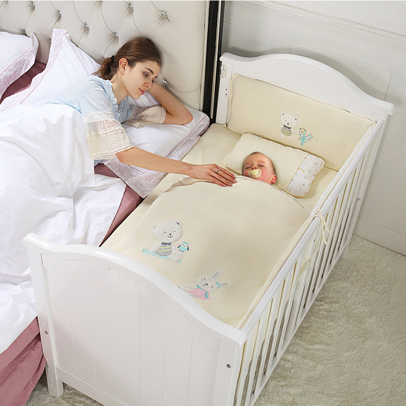 Lit bébé bois massif peinture européenne lit bébé multi-fonction BB lit nouveau né cuna colecho avec rouleau