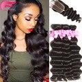 peruvian virgin hair with closure loose deep wave human hair bundles with closure 4pcs/lot ocean wave wet and wavy human hair