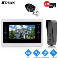 JERUAN 720P AHD Motion Detection 10 inch Video Door Phone Intercom System Record Monitor +1.0MP HD IR Mini Camera +CCTV Camera
