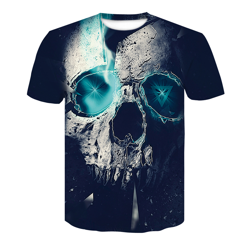 High quality men's t-shirt 3D printing skull Plus size round neck T-shirts 2018 Summer Street Tops Fashion Casual men's T-shirt