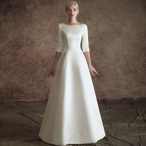 Image 2 - New A line Satin Modest Wedding Dresses With 3/4 Sleeves O Neck V Back Vintage Modest Bridal Gowns Wth Detachable Train