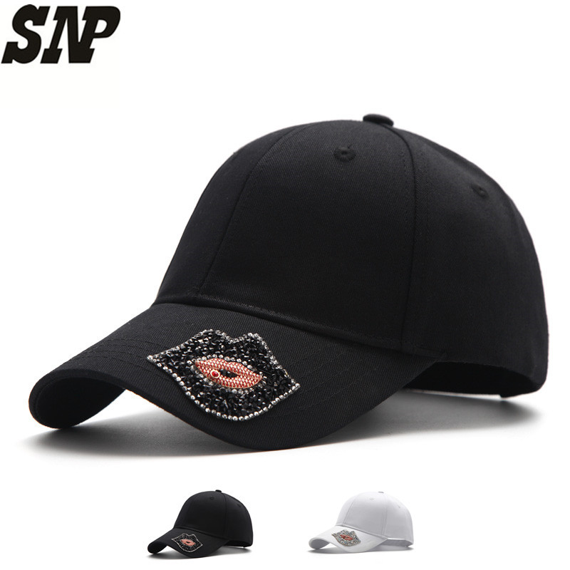 Black and white baseball cap women snapback Diamond lips hat