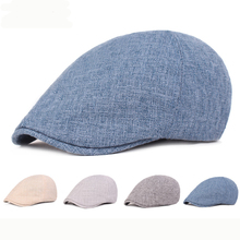 HT2383 Breathable Cotton Linen Beret Cap Men Women Spring Summer Sun Hat Adjustable Ivy Flat Newsboy Vintage