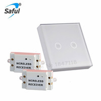 Free Shipping White Crystal Glass Switch Panel 12V Touch Switch Interruptor 2 Gang 2 Way Remote