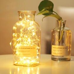Водонепроницаемый 2 м 5 M светодиодный фея гирлянды ночь светильники ночники Рождество Свадебные украшения по CR2032 Батарея-питание