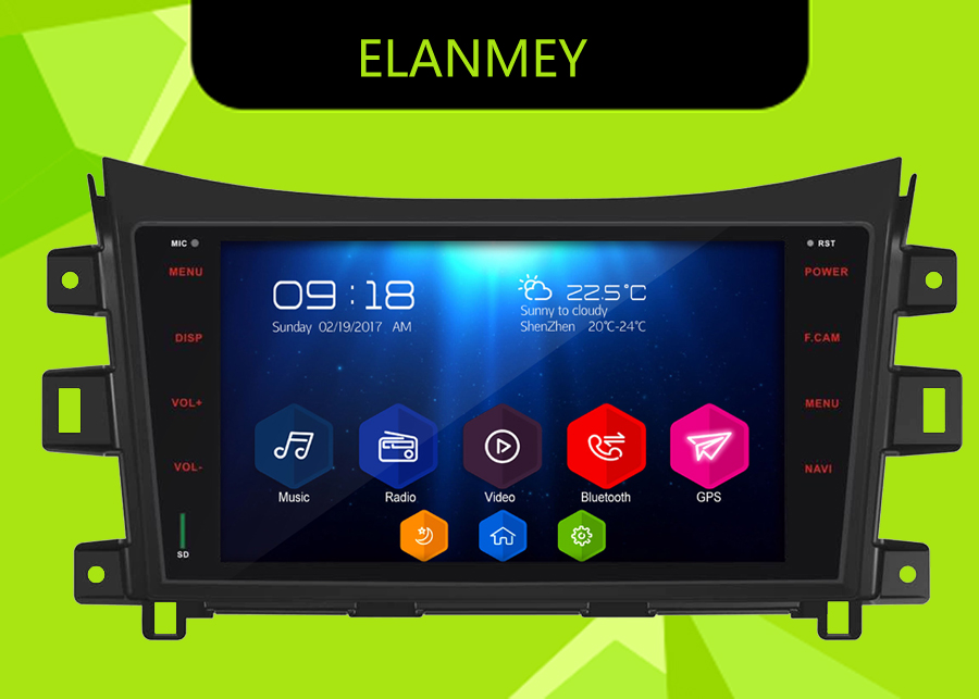 Elanmey GPS 8-Core Bluetooth stereo android 8.1.0 car multimedia player for <font><b>nissan</b></font> <font><b>Np300</b></font> <font><b>navara</b></font> multimedia radio no DVD Player image