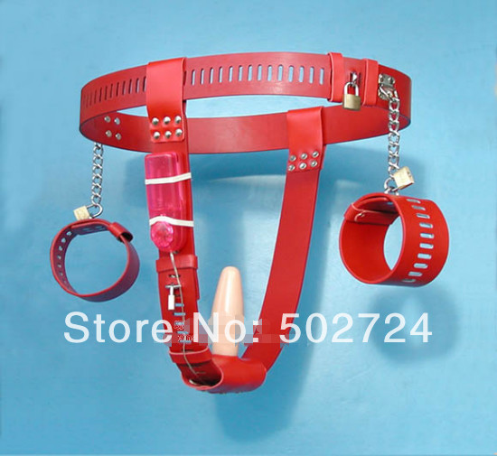 ФОТО  Female Chastity Belt Device Underwear Short Pants Hand Wrist  Hand Cuff  With Vibrator Vagina  Plug