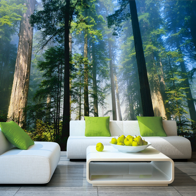 5D Papel Murals Forests Wallpaper Nature Fog Trees 3d Wall
