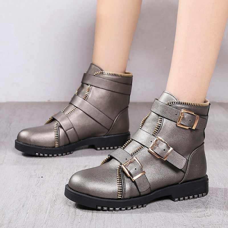 COOTELILI Moda Fermuar çizmeler kadın ayakkabıları Kadın yarım çizmeler Kadınlar Için 4 cm Topuk Kış Sonbahar lastik çizmeler Kadınlar 35-40