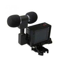 Мини стерео микрофон для Gopro Hero 4 3, аксессуары, защитная рамка, чехол, крепление для экшн камеры Go Pro 3,5 мм, микрофон без шума