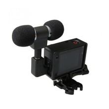 Mini Microphone stéréo pour Gopro Hero 4 3 accessoires monture de boîtier de protection pour caméra daction Go Pro 3.5Mm pas de bruit micro