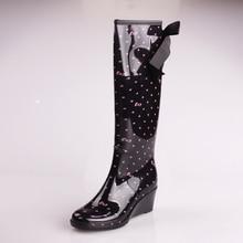 Zapatos de agua para mujeres 2015 Ladies rodilla botas de lluvia de la cuña del leopardo Rainboots goma chuteira galocha chaussure femme
