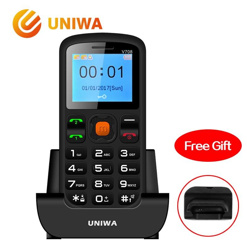 Uniwa V708 viejo de carga del teléfono móvil cuna superior niños característica teléfono GSM FM Radio grande SOS Botón de teclado ruso teléfono Móvil