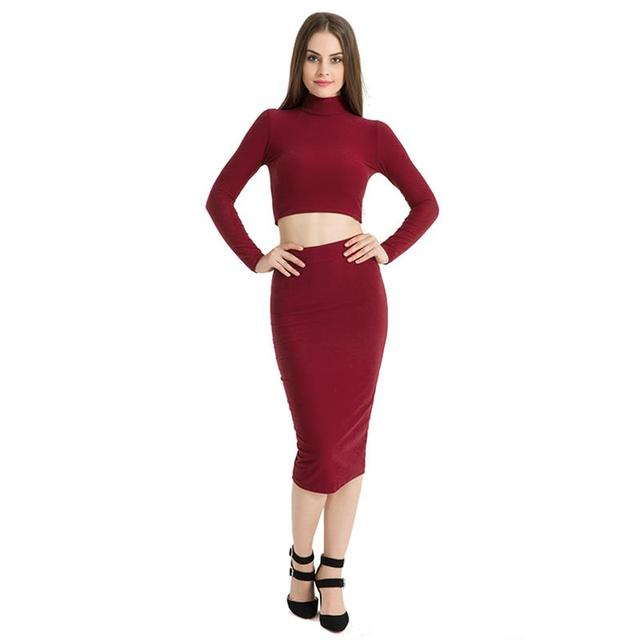 2d26563858f Women Autumn Two Pieces Set Sexy Crops Top And Dress Turtle Neck Long  Sleeves Bodycon Mujer