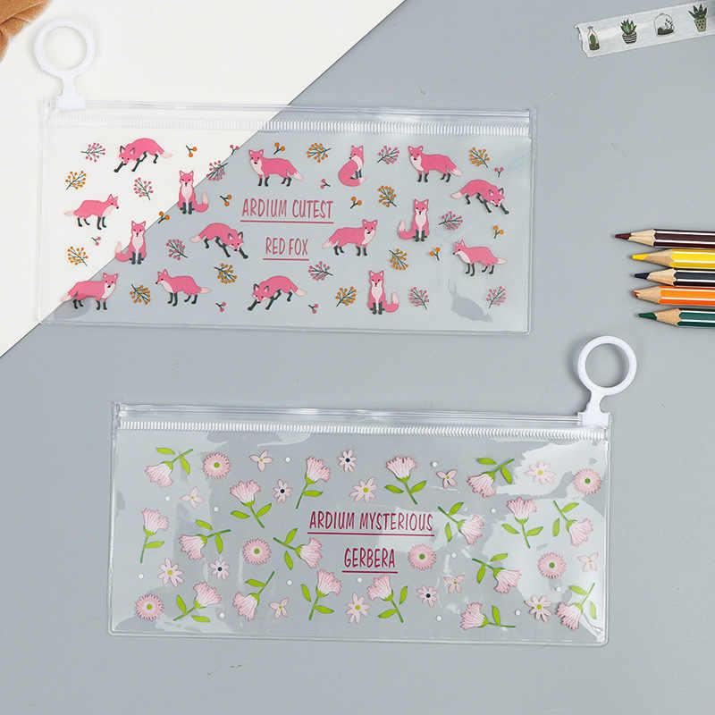 Cute Flower PVC Waterproof Pencil Cases Cartoon Fox Pen Bags Pencil Box Storage Organizer School Supplies Korean Stationery