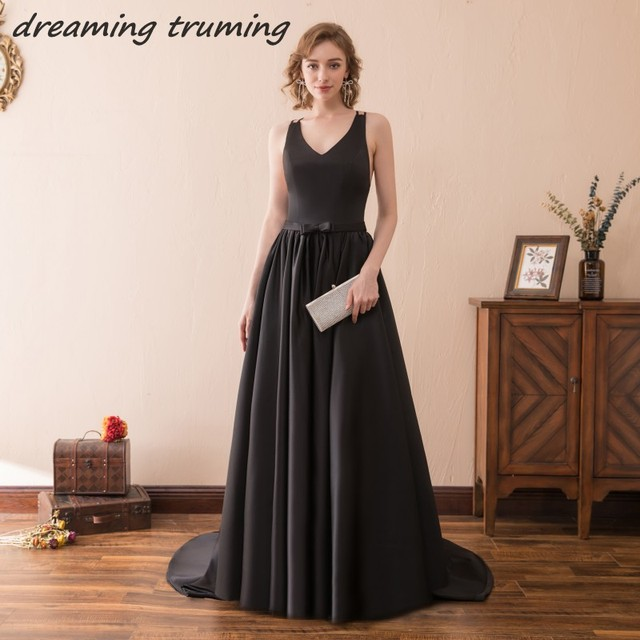 Elegant Black Evening Dress 2018 Stain Sexy Backless Floor Length