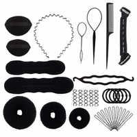 Профессиональные инструменты для укладки волос, 15 шт./компл., расческа для волос, диск для волос, шпильки роликовые косы, спиральная губка, ак...