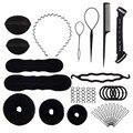 15 pçs/set ferramentas de estilo cabelo profissional pente cabelo disco hairpins rolo trança torção esponja estilo acessórios ferramentas kit conjunto
