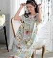 Yomrzl A005 nuevo algodón de la llegada del verano de las mujeres del vestido del o-cuello ropa de dormir camisón de una pieza de dormir dulce ropa interior