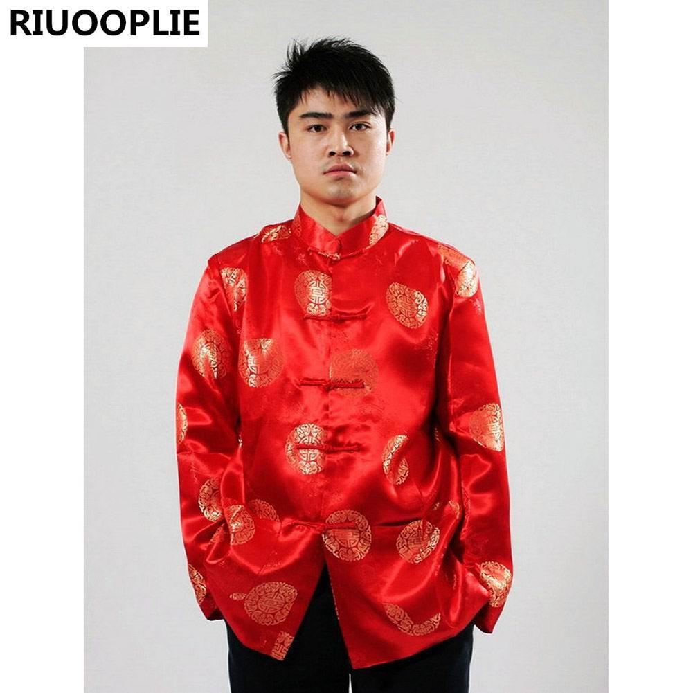 RIUOOPLIE Pakaian Cina untuk Lelaki Top Tang Suit Tahun Baru Hadiah - Pakaian kebangsaan - Foto 4