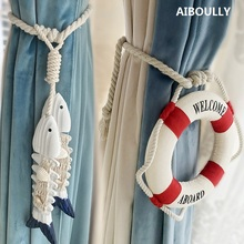AIBOULLY 2Pcs/set Window Curtain Mediterranean Europe Decoration Curtains Accessories Tieback Tie Backs Tassels Hanger