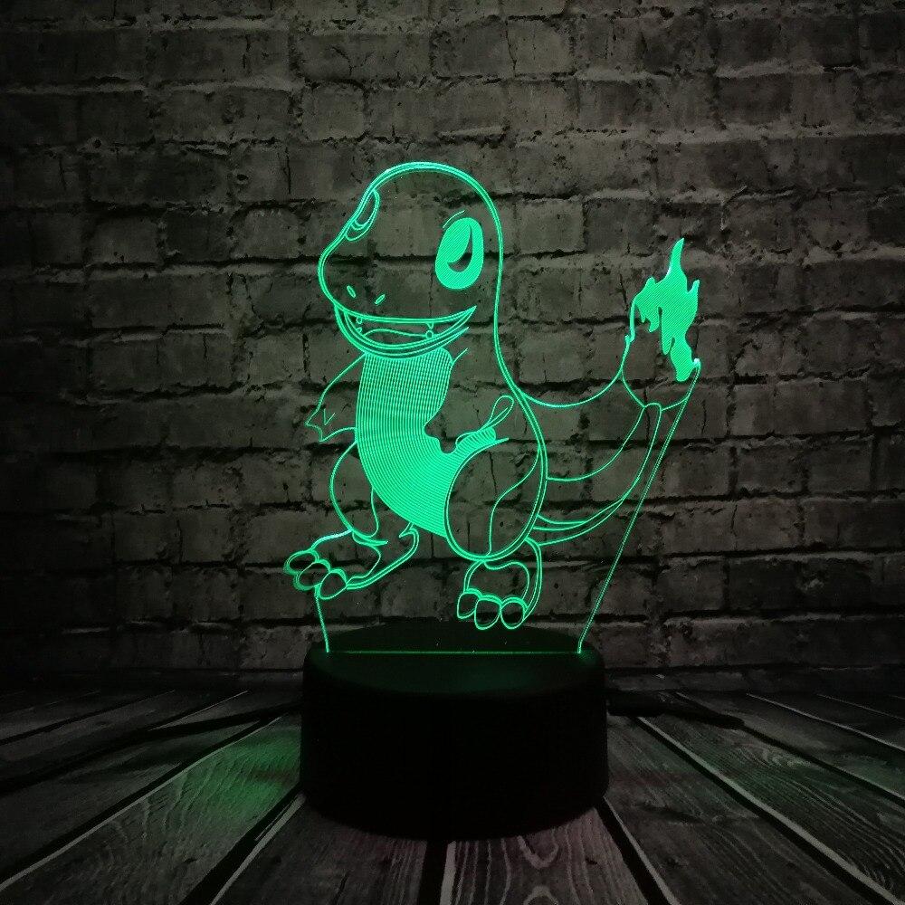 Թեժ վաճառք Japaneseապոնական մուլտֆիլմերի Pokemons Go Game 3D USB LED լամպ Կենդանիների գործիչ Charmander Փոքր կրակ վիշապը Գունավոր գիշերային թեթև խաղալիքներ
