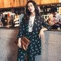 INU038 Nova Chegada do Outono 2016 mulheres casual brasão moda impresso longo blazer feminino