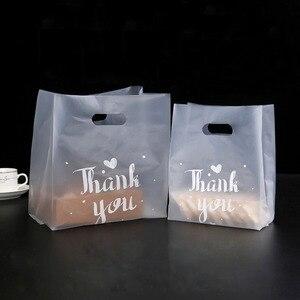 Image 3 - 50 個ありがとうプラスチックギフトバッグ布収納ショッピングバッグハンドルパーティー結婚式プラスチックキャンディケーキバッグ