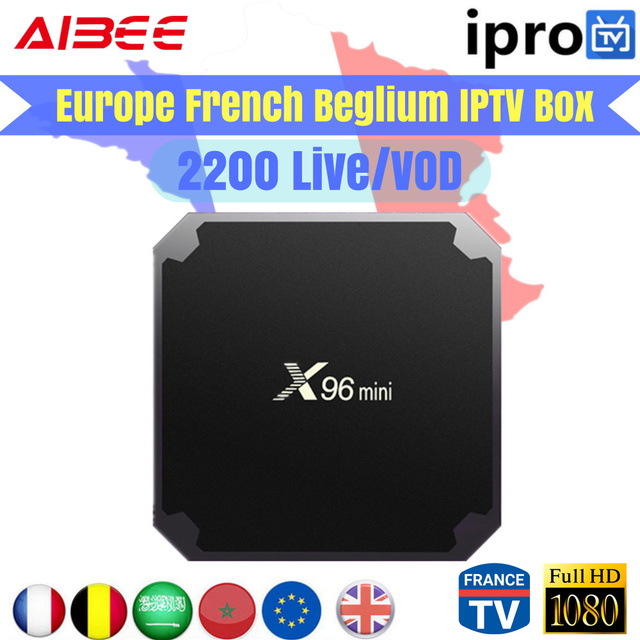 Best French IPTV X96 mini Android 7.1 Smart TV Box with IPROTV 2200 Channels Europe Arabic France Belgium IPTV Live TV PK QHDTV