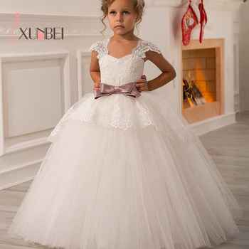 Princess Ball Gown Lace Flower Girl Dresses 2019 Big Sash Floor Length Girls Pageant Dresses First Communion Dresses - DISCOUNT ITEM  35% OFF All Category