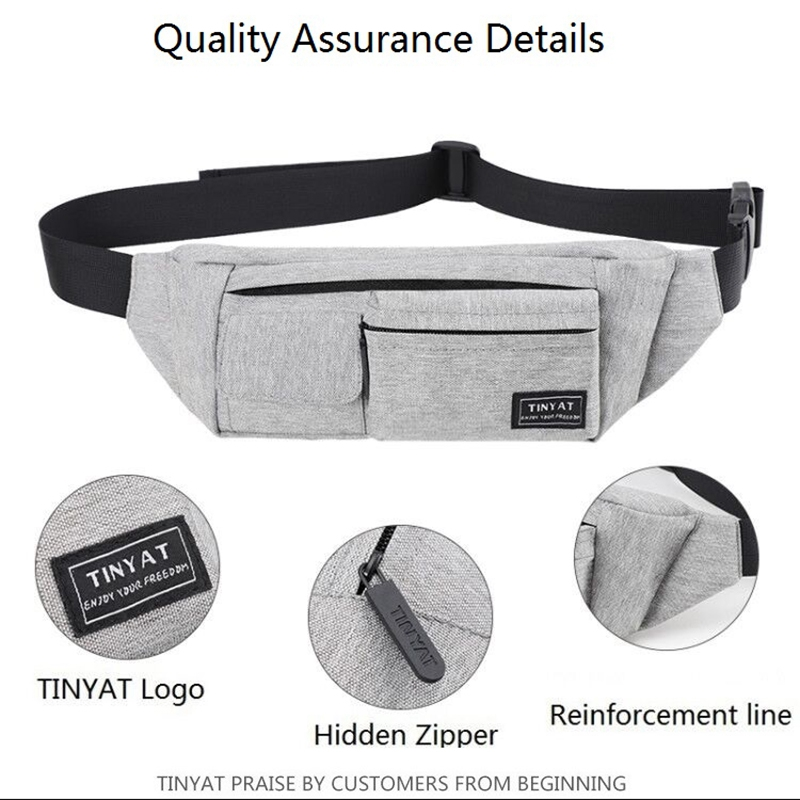 LJL-Tinyat Belt Bag Men Women Waist Bag Pack Travel Phone Belt Pouch Multifunctional Fanny Bag Pack Pockets Canvas Casual Hip