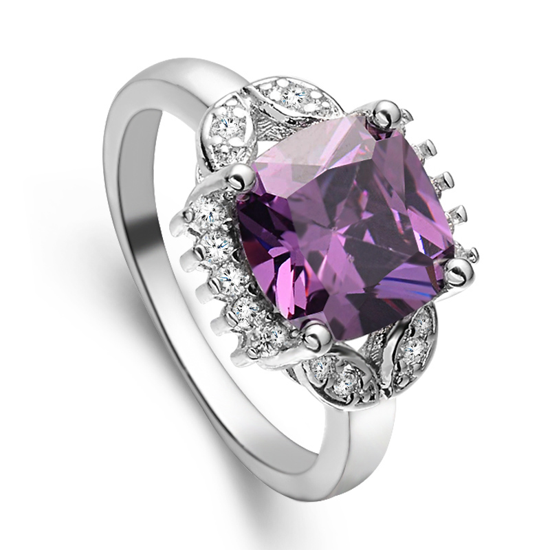 SHUANGR Big Purple Color Cubic Zirconia Wedding Ring For Women Elegant Rhinestone Fashion Jewelry Engagement Ring Size 7-10