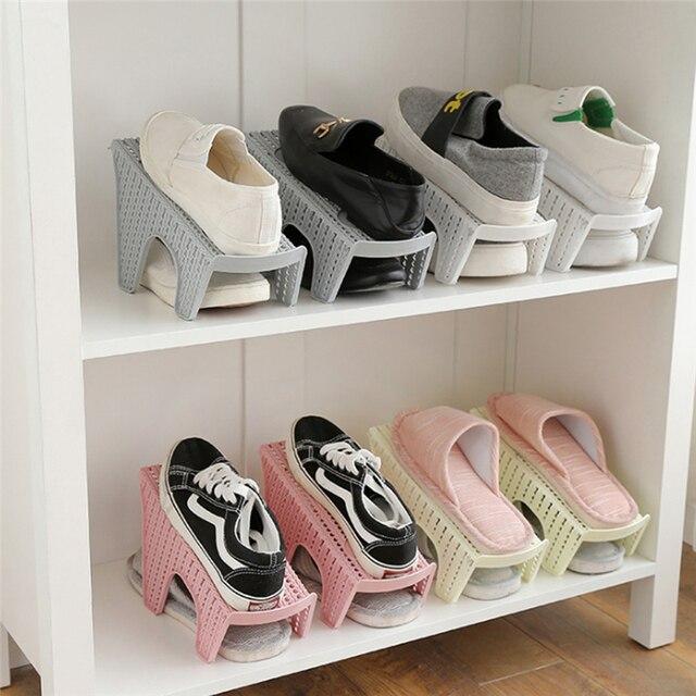 Single Creative Plastic Shoes Rack Adjule Organizer E Saving Storage Hanger Durable Wardrobe Organization