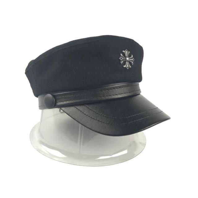 Xongkoro PU Military Hat Flat Top Wool Navy Cap Boys Girls Old Fashion  Cross Caps Black Color For Men Women 31f9ff70498