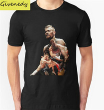 mc gregor Printed 2016 Summer T Shirt Men %100 Cotton Short sleeve Fashion O-Neck Printed Cotton MMA T-Shirt Free Shipping