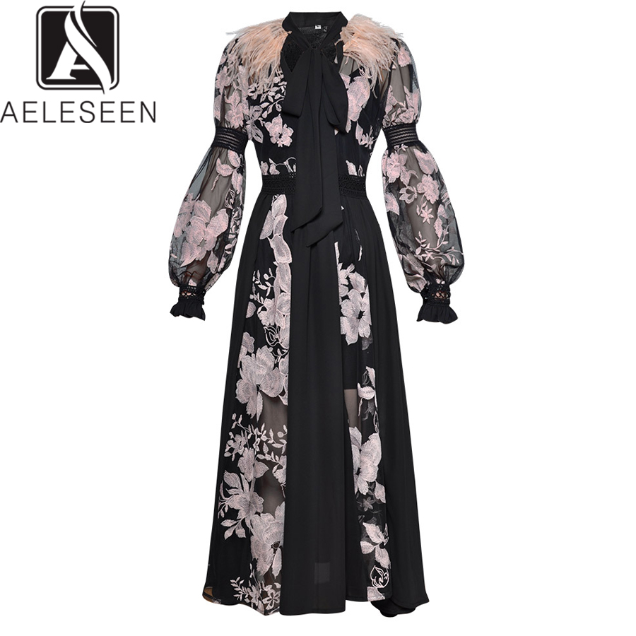 AELESEEN Fashion Dress 2019 Spring Women Lantern sleeve Bow Feather see through Mesh Floral Embroidery Sexy