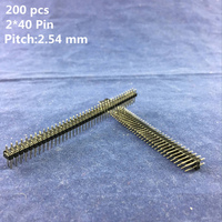 High Quality 200 Pcs 2* 40 pin Single Row Copper Straight Needle Pitch 2.54 mm Male Breakable Pin Header